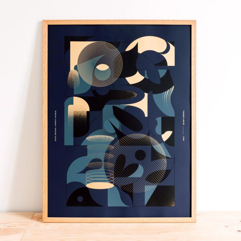 serigraphie affiche bleue graphique