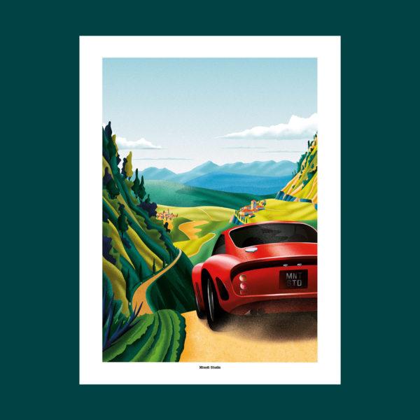 voiture affiche Italie illustration